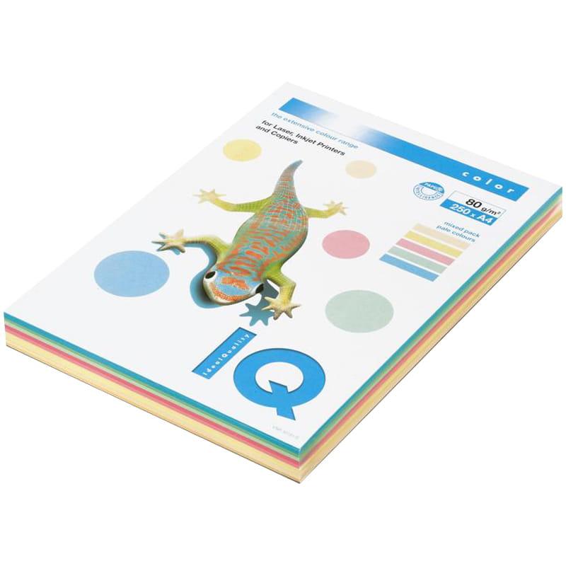 Бумага IQ (АйКью) color, А4, 80 г/м2, 250 л. (5 цв. x 50 л.), цветная пастель, RB01