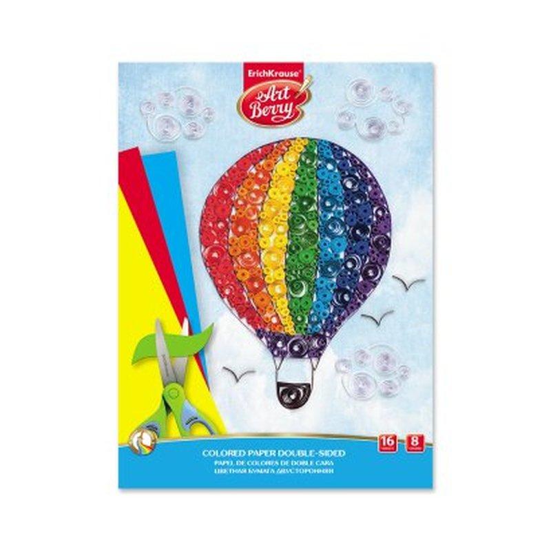 Цветная бумага двусторонняя в папке ArtBerry®, А4, 16 листов, 8 цветов, игрушка-набор для детского творчества 50565