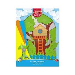 Цветной картон мелованный в папке ArtBerry®, А4, 10 листов,10 цветов, игрушка-набор для детского творчества 50567