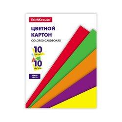 Цветной картон на клею ErichKrause®, А4, 10 листов, 10 цветов, игрушка-набор для детского творчества 53160