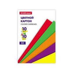 Цветной картон на клею ErichKrause®, А5, 10 листов, 10 цветов, игрушка-набор для детского творчества 53161