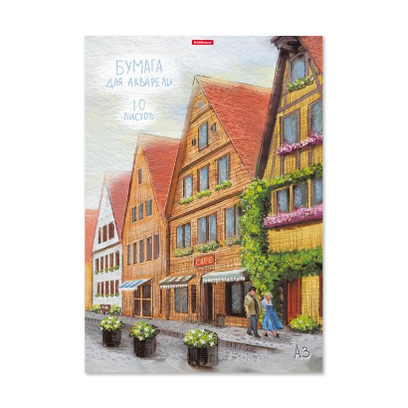 Бумага для акварели в папке ErichKrause® Promenade, А3, 10 листов 180г/м2. 49821