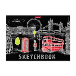 Альбом для эскизов на клею ErichKrause® Great Britain, А4, 30 листов, бумага черная 49851