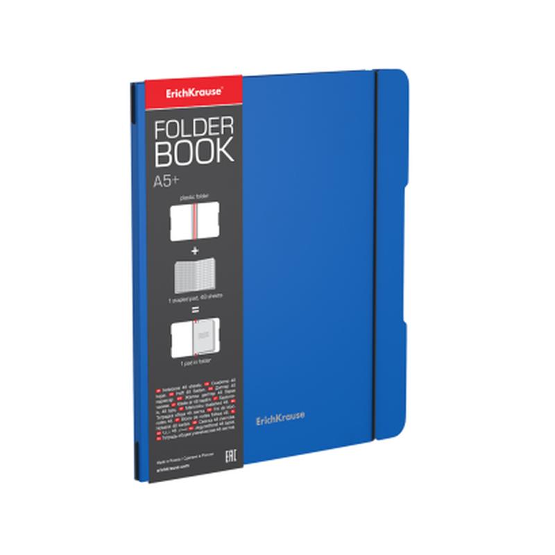 Тетрадь общая ученическая в съемной пластиковой обложке ErichKrause® FolderBook, синий, А5+, 48 листов, клетка 48017