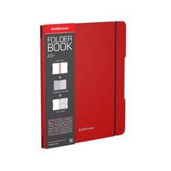 Тетрадь общая ученическая в съемной пластиковой обложке ErichKrause® FolderBook, красный, А5+, 48 листов, клетка 48019
