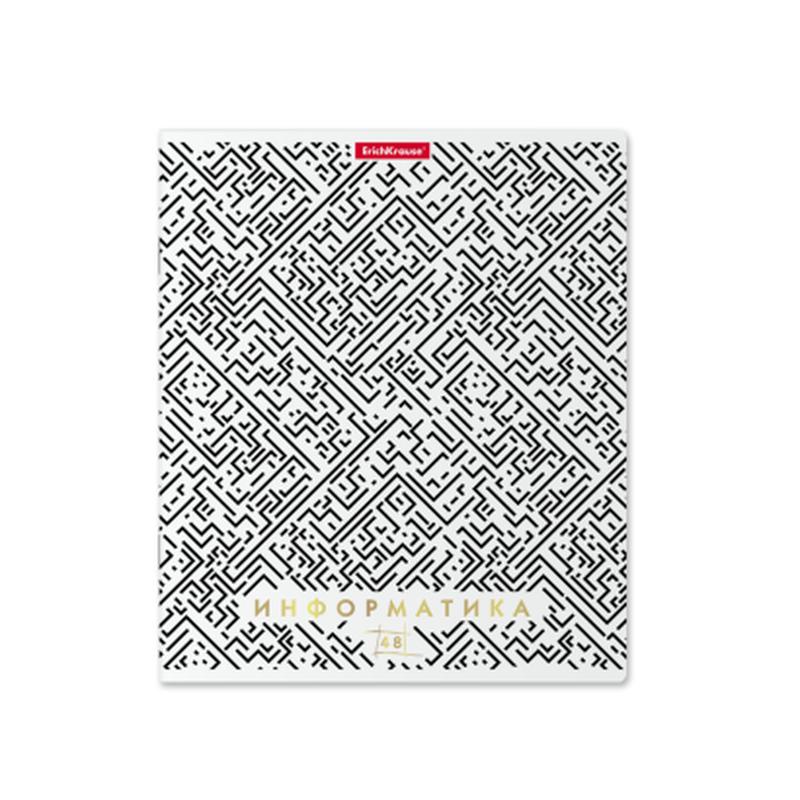 Тетрадь общая ученическая ErichKrause® Ассоциации, Информатика, 48 листов, клетка, матовая ламинация + тиснение фольгой 49439