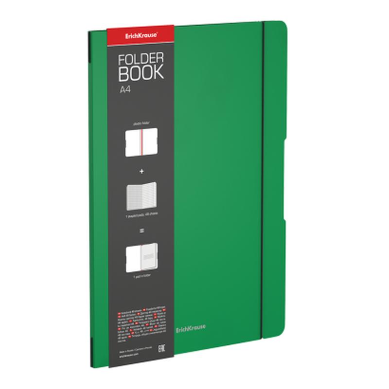 Тетрадь общая ученическая в съемной пластиковой обложке ErichKrause® FolderBook, зеленый, А4, 48 листов, клетка 48227