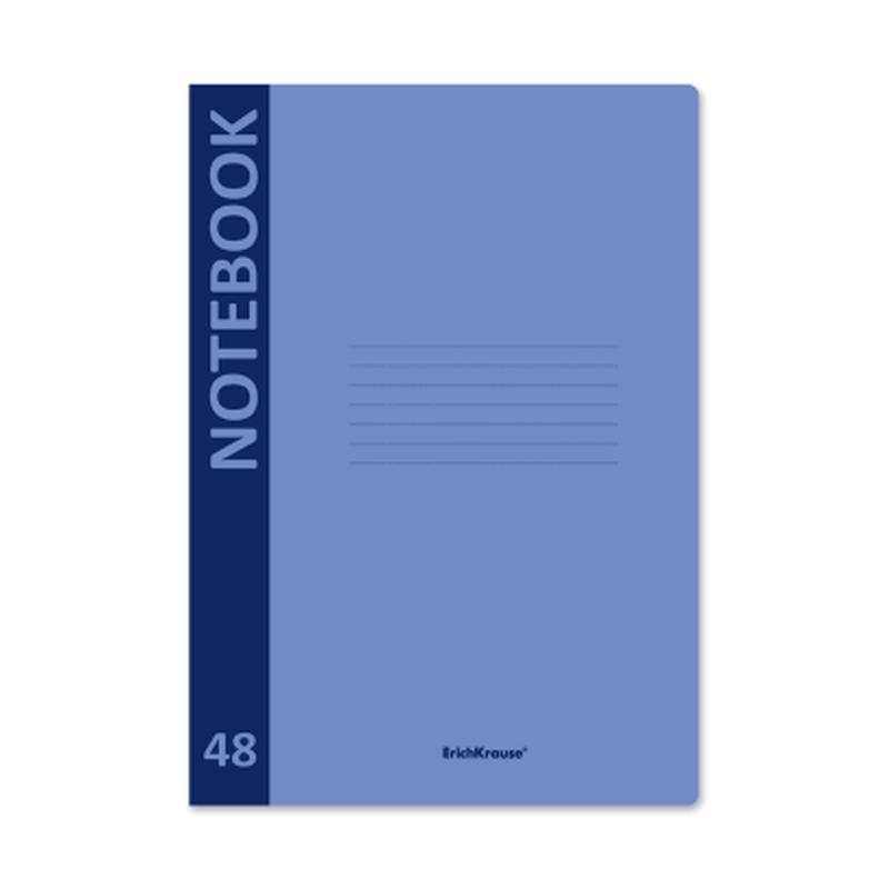 Тетрадь общая ученическая с пластиковой обложкой на скобе ErichKrause® Neon, голубой, А4, 48 листов, клетка 48223
