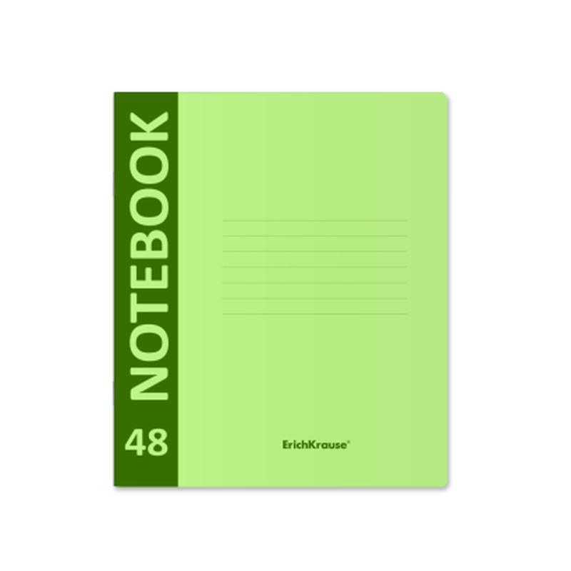 Тетрадь общая ученическая с пластиковой обложкой на скобе ErichKrause® Neon, зеленый, А5+, 48 листов, клетка 46935