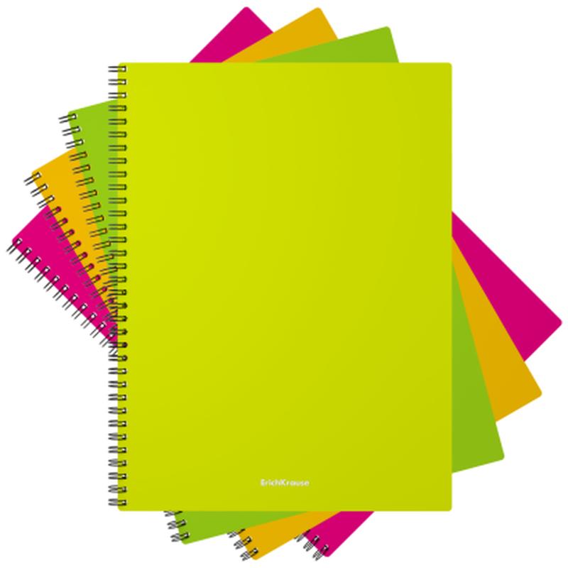 Тетрадь общая с пластиковой обложкой на спирали ErichKrause® Neon, ассорти, А4, 60 листов, клетка 43533