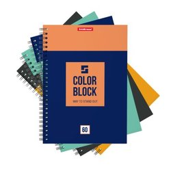 Тетрадь общая на спирали ErichKrause® Color Block, А5, 60 листов, клетка 49680
