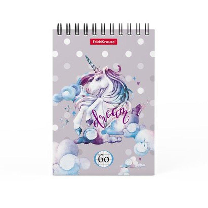 Блокнот на спирали ErichKrause® Dream Unicorn, А6, 60 листов, клетка 49660