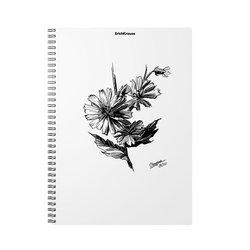Тетрадь общая с пластиковой обложкой на спирали ErichKrause® Blossom, Black and White, А4, 80 листов, клетка 54119