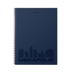 Тетрадь общая с пластиковой обложкой на спирали ErichKrause® MEGAPOLIS®, синий, А4, 80 листов, клетка, перфорация, микроперфорация 45947