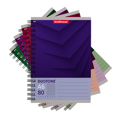 Тетрадь общая на спирали ErichKrause® Duotone Next, А6, 80 листов, клетка 44986