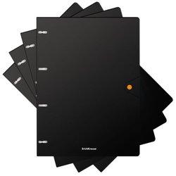 Тетрадь общая с пластиковой обложкой на кольцах ErichKrause® Accent, ассорти, А4, 80 листов, клетка, на кнопке 51430