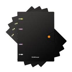 Тетрадь общая с пластиковой обложкой на кольцах ErichKrause® Accent, ассорти, А5, 80 листов, клетка, на кнопке 51429