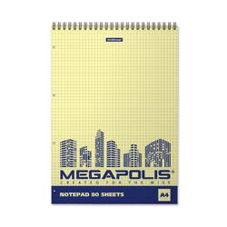 Блокнот на спирали ErichKrause® MEGAPOLIS® Yellow Concept, А4, 80 листов, клетка, желтый внутренний блок, перфорация 49807