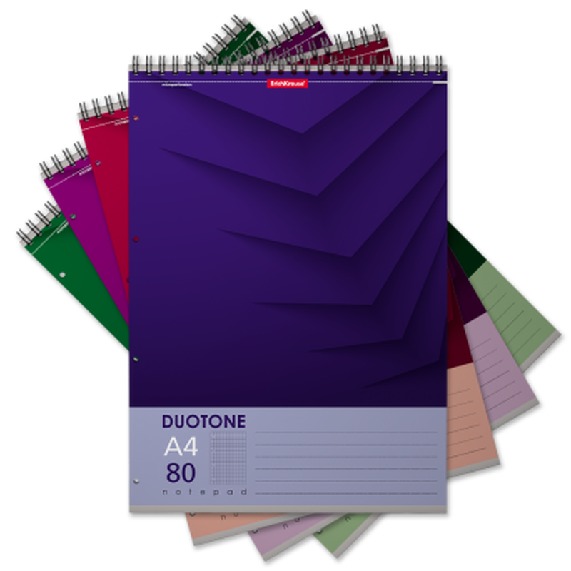 Блокнот на спирали ErichKrause® Duotone Next, А4, 80 листов, клетка, перфорация, микроперфорация 45386