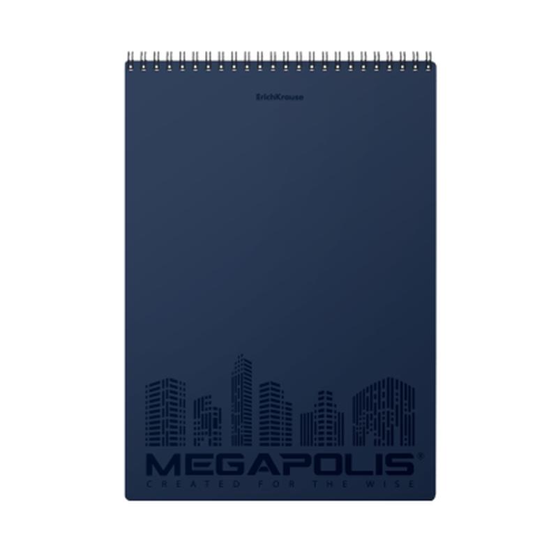 Блокнот с пластиковой обложкой на спирали ErichKrause® MEGAPOLIS®, синий, А4, 80 листов, клетка, перфорация, микроперфорация 45950