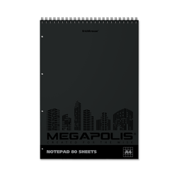 Блокнот на спирали ErichKrause® MEGAPOLIS®, А4, 80 листов, клетка, твин-лак, перфорация 49813