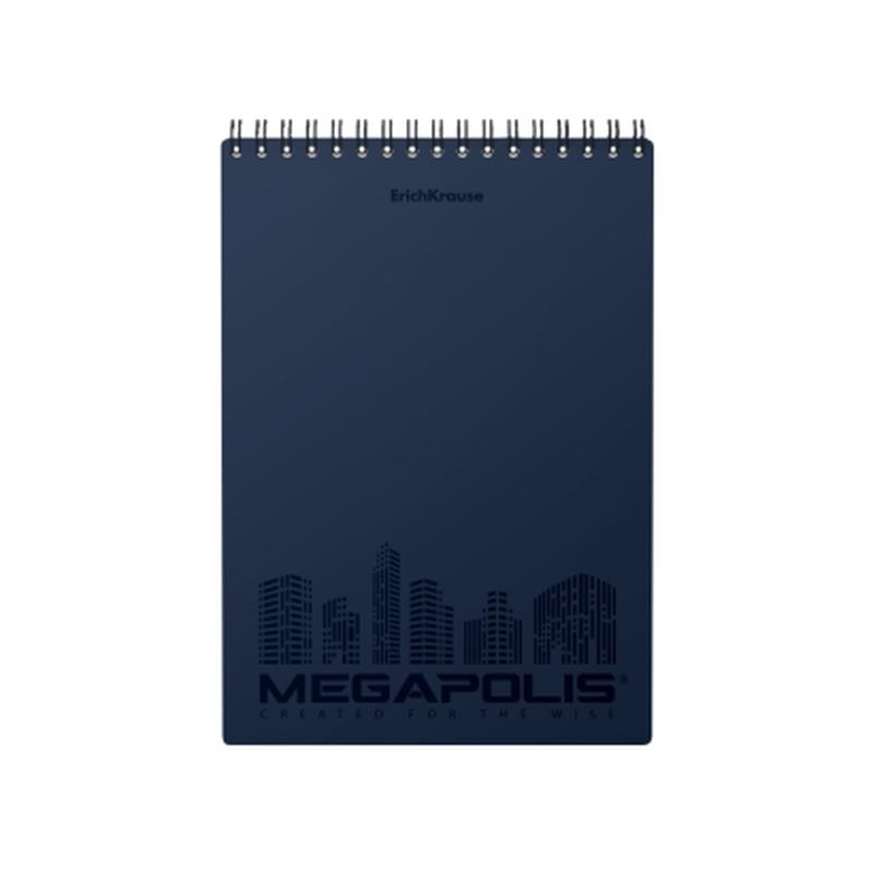 Блокнот с пластиковой обложкой на спирали ErichKrause® MEGAPOLIS®, синий, А5, 80 листов, клетка, микроперфорация 45949