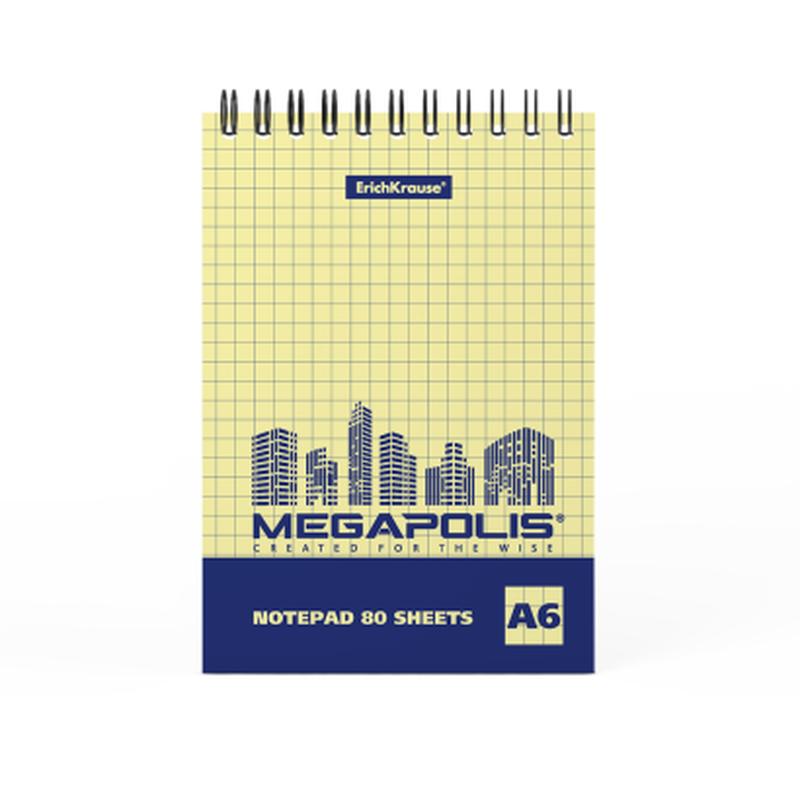 Блокнот на спирали ErichKrause® MEGAPOLIS® Yellow Concept, А6, 80 листов, клетка, желтый внутренний блок 49805