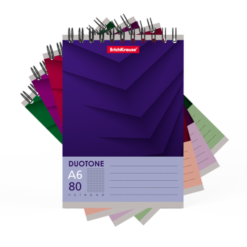 Блокнот на спирали ErichKrause® Duotone Next, А6, 80 листов, клетка 44989