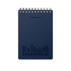 Блокнот с пластиковой обложкой на спирали ErichKrause® MEGAPOLIS®, синий, А6, 80 листов, клетка 45948