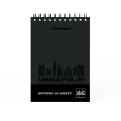 Блокнот на спирали ErichKrause® MEGAPOLIS®, А6, 80 листов, клетка, твин-лак 49811