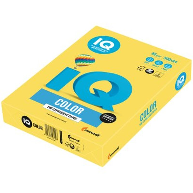 "Бумага IQ ""Color intensive"" А4, 80г/м2, 500л. (канареечно-жёлтый) CY39"