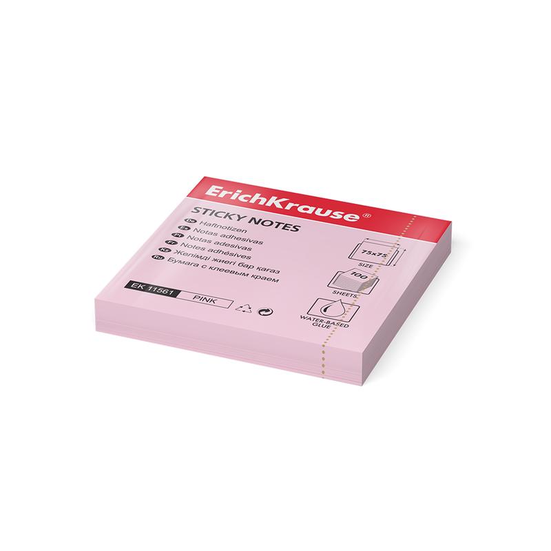 Бумага для заметок с клеевым краем ErichKrause®, 75х75 мм, 100 листов, розовый 11561