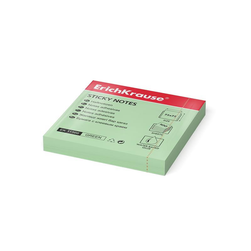 Бумага для заметок с клеевым краем ErichKrause®, 75х75 мм, 100 листов, зеленый 11566