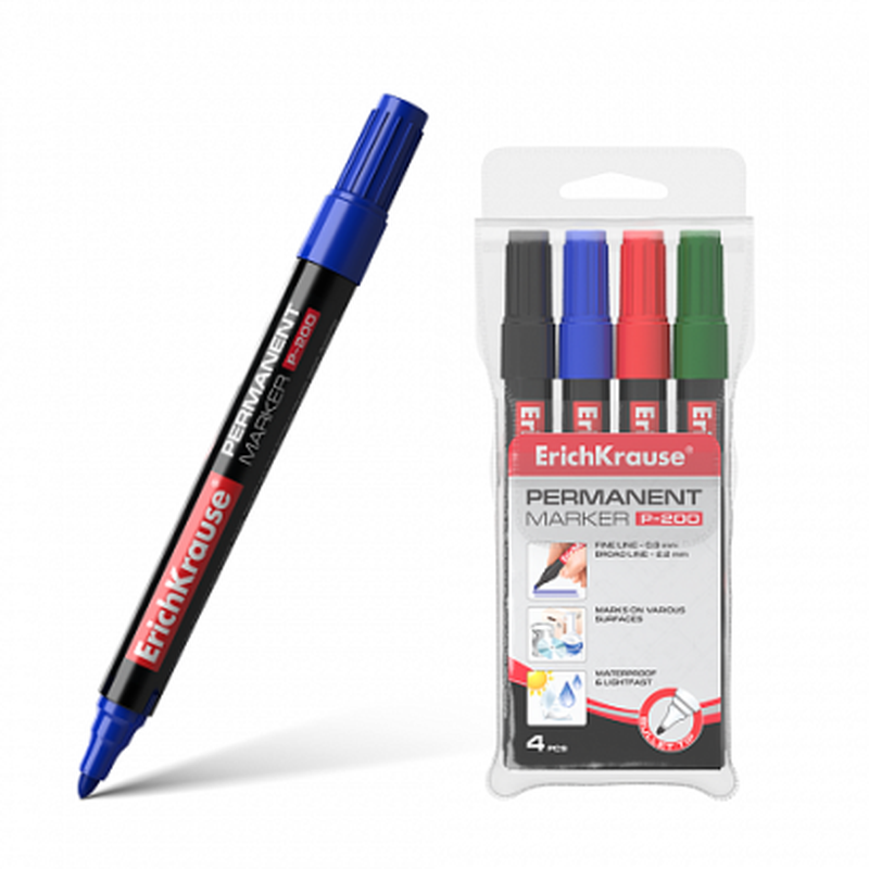 Перманентный маркер ErichKrause® P-200, цвет чернил: черный, синий, красный, зеленый (в футляре по 4 шт.) 11606