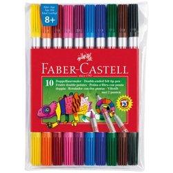 Фломастеры двусторонние Faber-Castell, 10цв., 10шт., смываемые, ПВХ уп., европодвес 151110