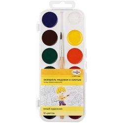 """Акварель Гамма """"Юный художник"""", медовая, 12 цветов, с кистью, пластик, европодвес 212070"""