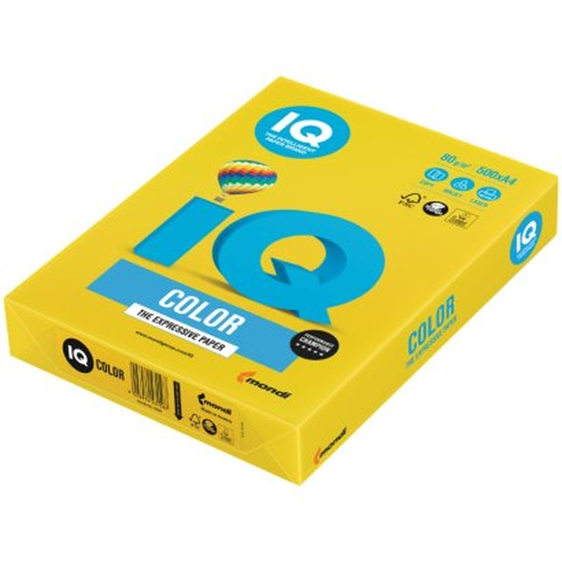 "Бумага IQ ""Color intensive"" А4, 80г/м2, 500л. (ярко-жёлтый) IG50"