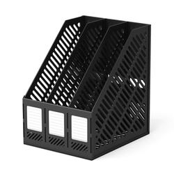 Подставка пластиковая для бумаг трехсекционная сборная ErichKrause® Classic, черный 13096
