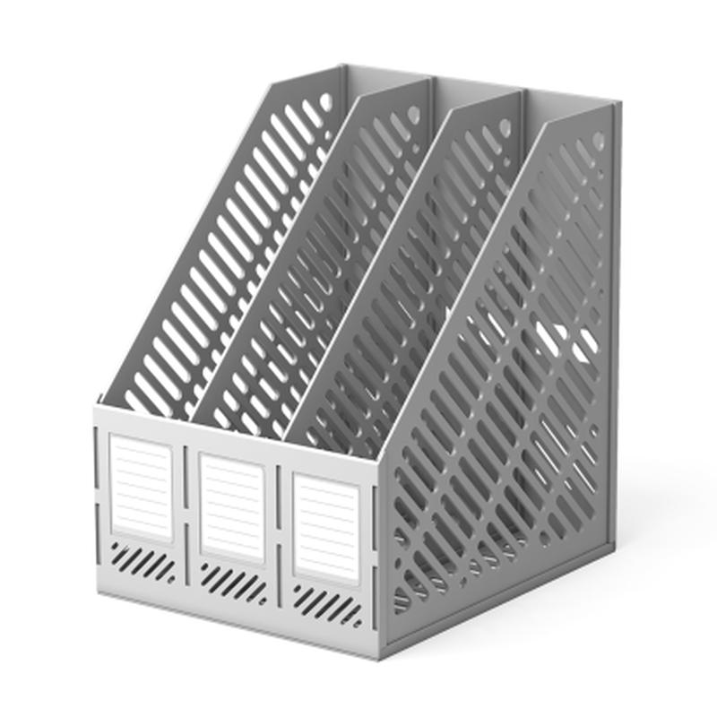 Подставка пластиковая для бумаг трехсекционная сборная ErichKrause® Classic, серый 13097
