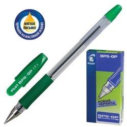 """Ручка шариковая масляная с грипом PILOT """"BPS-GP"""", ЗЕЛЕНАЯ, корпус прозрачный, узел 0,7 мм, линия письма 0,32 мм, BPS-GP-F-G"""