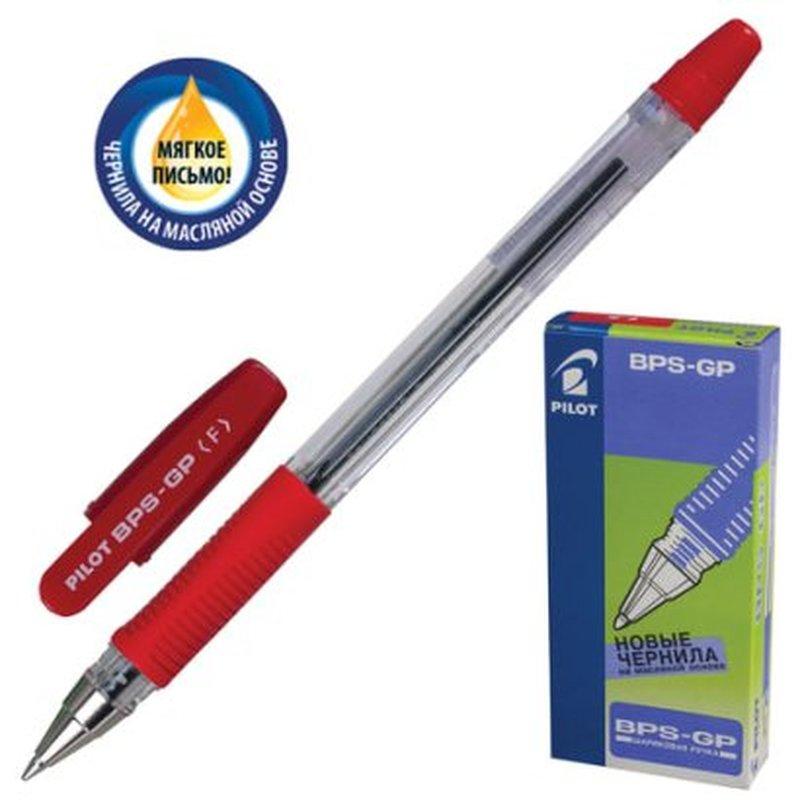 """Ручка шариковая масляная с грипом PILOT """"BPS-GP"""", КРАСНАЯ, корпус прозрачный, узел 0,7 мм, линия письма 0,32 мм, BPS-GP-F-R"""