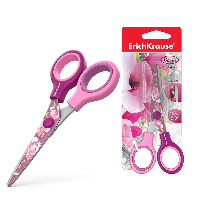 Ножницы ErichKrause® Junior Decor Magnolia с принтом на лезвиях, 13см (блистер) 14598