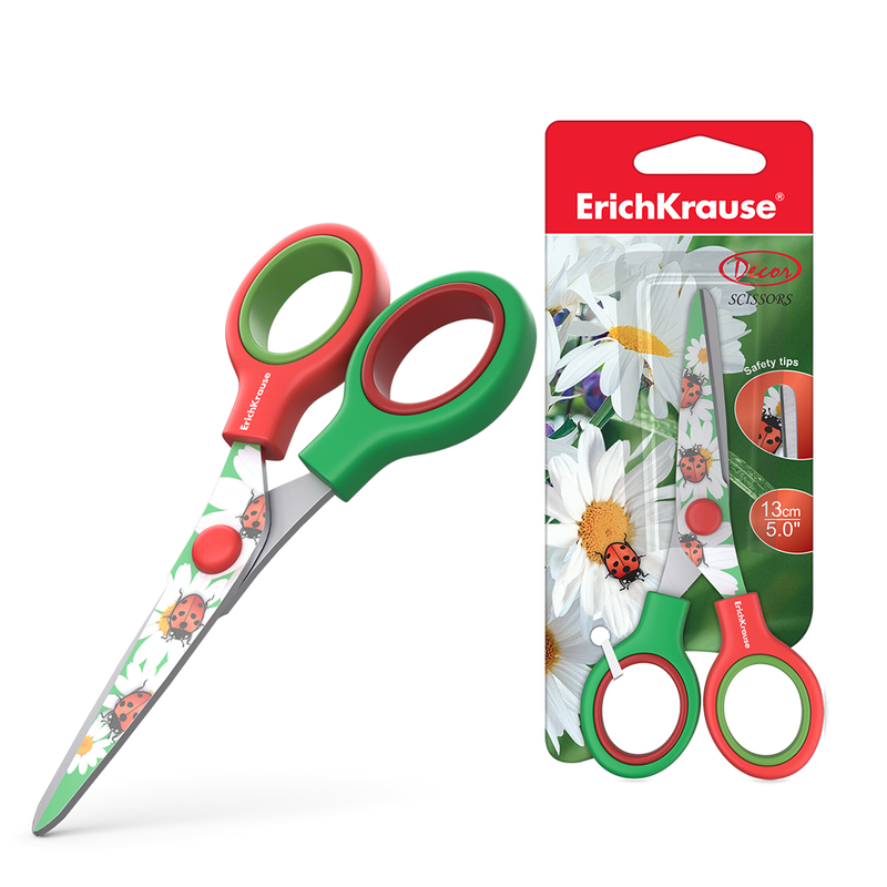 Ножницы ErichKrause® Junior Decor Summer с принтом на лезвиях, 13см (блистер) 14600