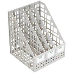 Лоток для бумаг вертикальный Стамм, сборный, 4 отделения, серый. ЛТ82