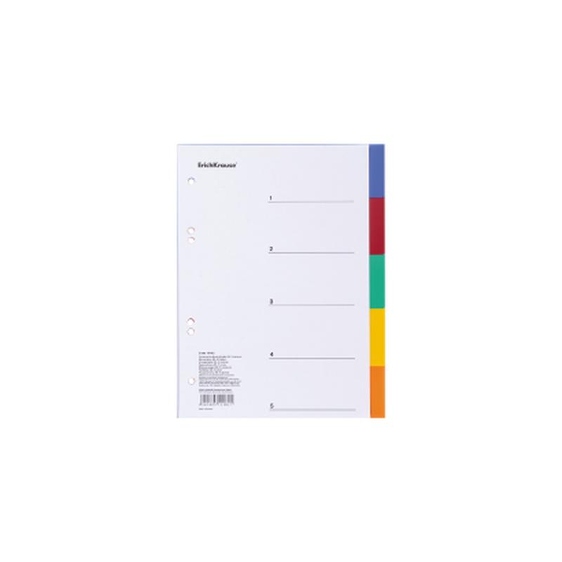 Разделитель листов пластиковый ErichKrause® 5 листов, по цветам, А5 15182