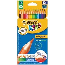 """Карандаши цветные BIC """"Kids ECOlutions Evolution"""", 12 цветов, пластиковые, заточенные, европодвес, 82902910"""