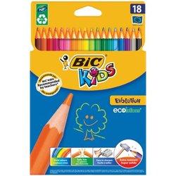 """Карандаши цветные BIC """"Kids ECOlutions Evolution"""", 18 цветов, пластиковые, заточенные, европодвес, 937513"""
