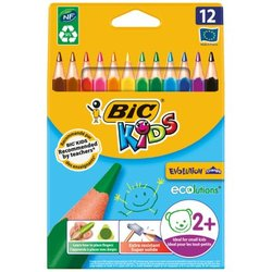 """Карандаши цветные пластиковые Bic """"Evolution Triangle"""" 12цв., утолщ.,трехгран., заточ.,картон,европ. 8297356"""