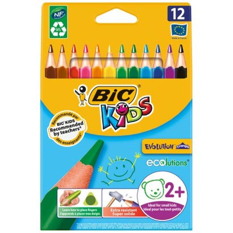 """Карандаши цветные утолщенные BIC """"Triangle"""", 12 цветов, пластиковые, трехгранные, картонная упаковка, 8297356"""