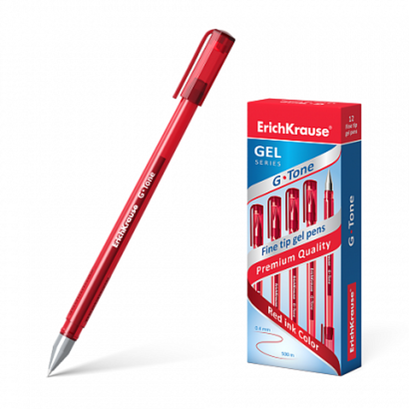Ручка гелевая ErichKrause® G-Tone, цвет чернил красный 17811